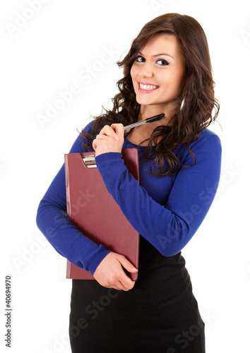 smiling young woman with clipboard and pen