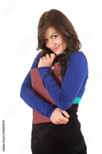 happy casual young woman looking at camera
