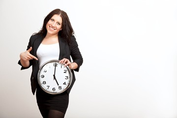 Young Employee Holding a Clock