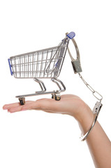 Shopping cart handcuffed to the arm