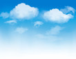canvas print picture - White clouds in a blue sky. Sky background. Vector
