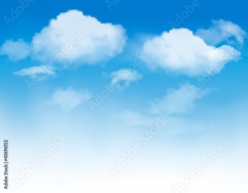 Białe chmury w błękitne niebo. Tło nieba. Wektor