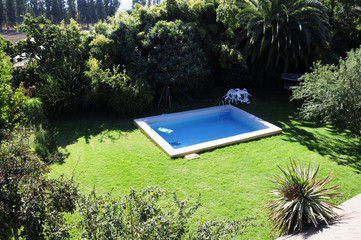 Paisaje, piscina rural