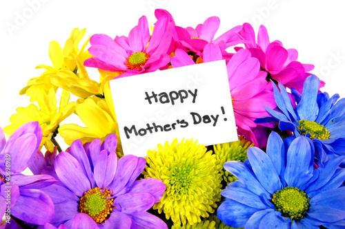 Colorful Mother's Day flowers with gift tag