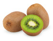 Ripe kiwi fruits with half