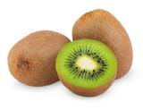 Ripe kiwi fruits with half