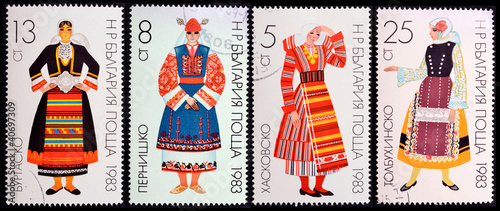 woman in traditional Bulgarian costume ,stamp