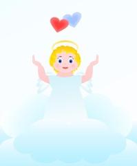 Ангел и два сердца на небесах