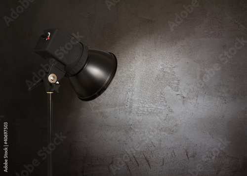 spot light on concrete wall