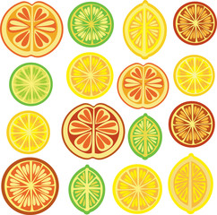 Citrus pattern, lemon, lime, orange