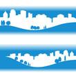 ville écologique sur fond bleu