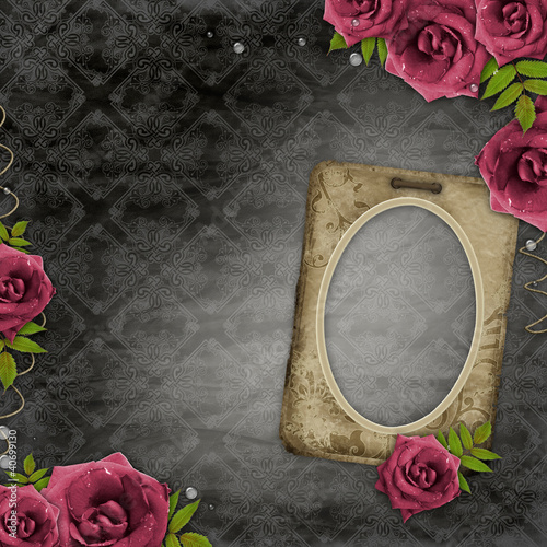 Old  frame on vintage background