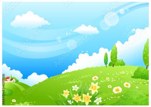 Rolling landscape and blue sky