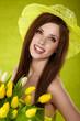 Beautiful spring woman portrait. green concept