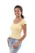 Cheerful afro woman in t-shirt and jeans