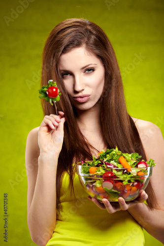 happy healthy woman with salad