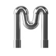 3d Silver Pipe Letter M