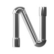 3d Silver Pipe Letter N