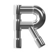 3d Silver Pipe Letter R