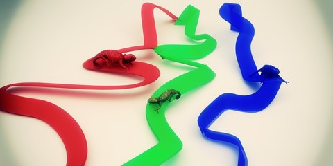 rgb colori camaleonte render 3d stampa grafica