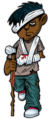 Cartoon injured indian man with walking stick and bandages