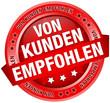 """Button Banner """"Von Kunden empfohlen"""" rot"""