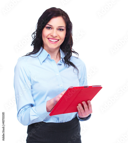 Young business woman with tablet computer.