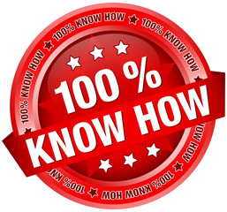 "Button Banner ""100 % Know How"" rot"