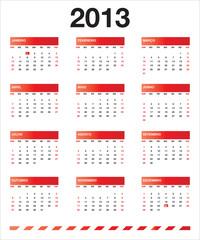 Calendário vermelho 2013 PT