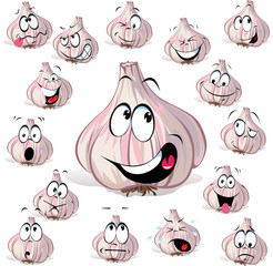garlic cartoon head with many expressions