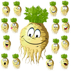 celery cartoon with many expressions isolated