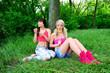 Two beautiful young women friends.