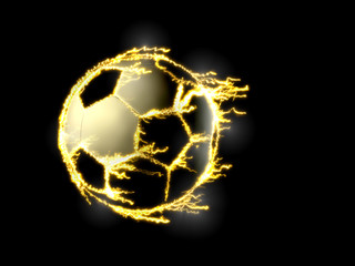 soccer ball with electric lightning