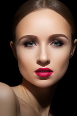 Sexy woman model with bright fuchsia lips makeup