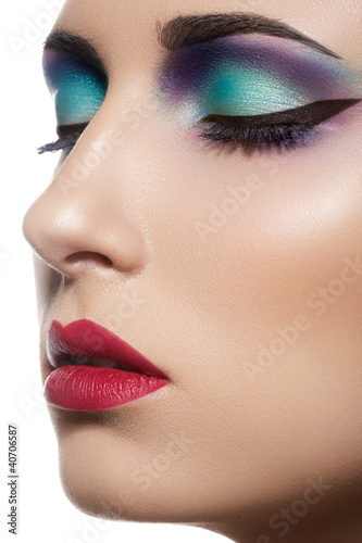 Beauty portrait of attractive model face with bright visage