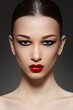 Sexy woman model with face bright red lips