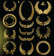 Golden laurel wreath set