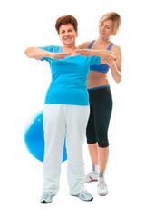 Senior woman doing fitness exercise