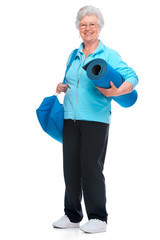 Attractive senior woman at health club,