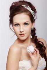 retro girl with marshmallow