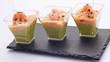 trio de verrines aux crustacés