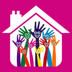 House party design with happy face hands.