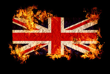 British flag in fire.