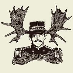 horny officer. vector illustration