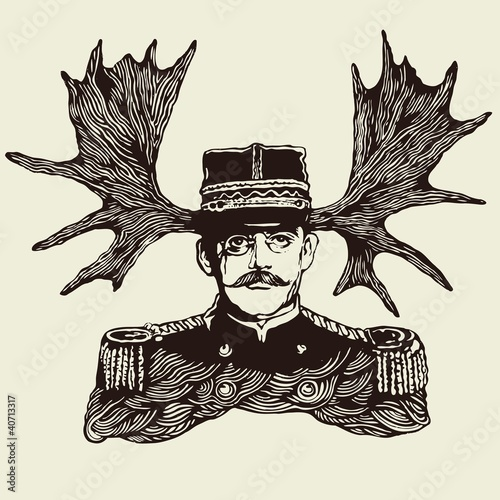 horny officer. vector illustration