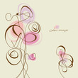 Vector flowers and hearts, calligraphic design elements