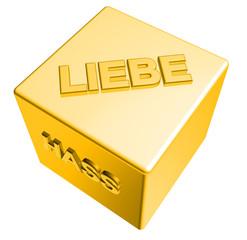 3D Goldwürfel - LIEBE - HASS