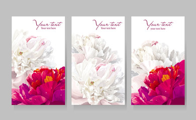 Set of peony flower greeting cards