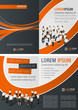 Orange and black template for advertising with business people