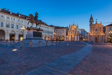 Piazza San Carlo al tramonto, Torino, Italia